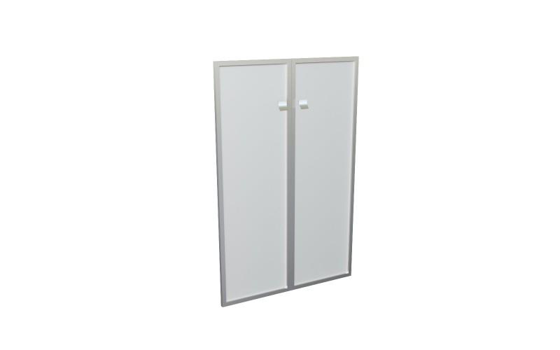 12555 Комплект средних стеклянных дверей (стекло матовое в аллюминиевой раме) (1150х770)
